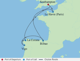8 Night Spain & France voyage map