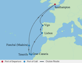 11 Nt Spain, Portugal & Canary Islands voyage map
