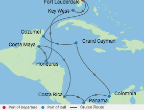 14 Night Ultimate Caribbean Cruise voyage map