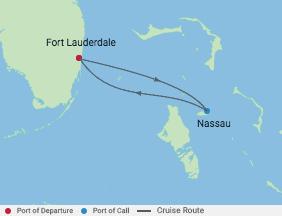 2 Night Bahamas Cruise voyage map