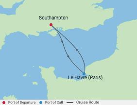2 Night Paris Weekend Getaway Cruise voyage map