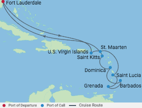 12 Night Southern Caribbean Cruise voyage map