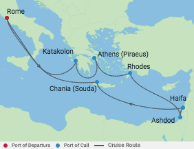 12 Night Israel & Mediterranean  Cruise voyage map
