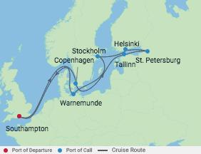 14 Night Scandinavia & Russia Cruise voyage map
