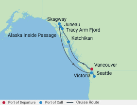 7 Night Alaska Tracy Arm Fjord Cruise voyage map