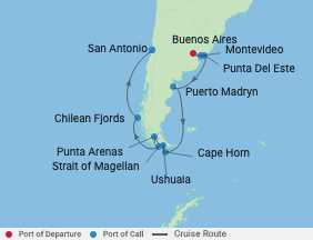 14 Night Argentina & Chile Cruise voyage map