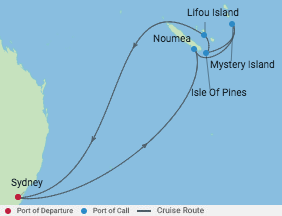9 Night South Pacific Cruise voyage map