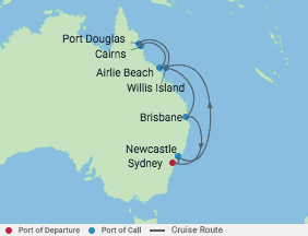 12 Night Great Barrier Reef Cruise voyage map