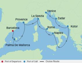 9 Night Best Of Western Mediterranean voyage map