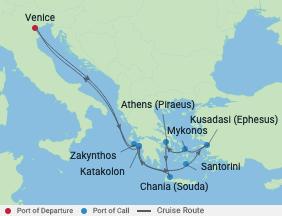 10 Night Venice, Turkey & Greek Islands voyage map