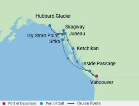 9 Night Alaska Hubbard Glacier Cruise voyage map