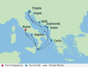 10 Night Italy, Croatia & Montenegro voyage map