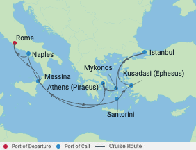 11 Night Italy, Turkey & Greek Islands voyage map