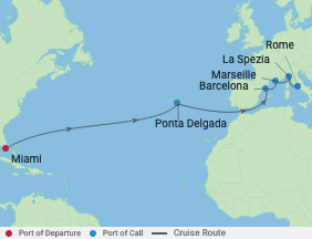 14 Night Azores, Spa& Italy voyage map