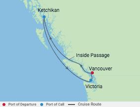 5 Night Alaska & British Columbia voyage map