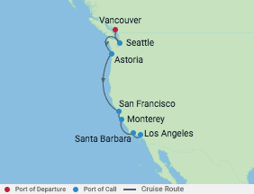 10 Night Pacific Coastal Cruise voyage map
