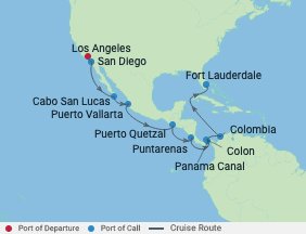 16 Night Panama Canal Eastbound Cruise voyage map
