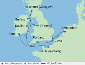 12 Night British Isles Cruise voyage map
