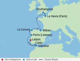 11 Night Portugal, Spain & France Cruise voyage map