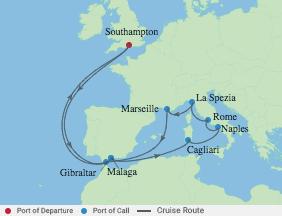 14 Night Spain & Italian Mediterranean voyage map