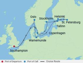 14 Night Scandinavia & St. Petersburg voyage map