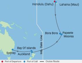 18 Night Tahitian Treasures Cruise voyage map