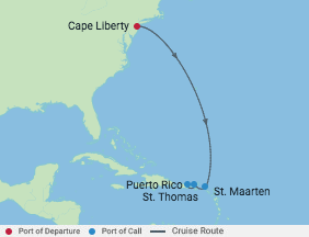 6 Night Eastern Caribbean Cruise voyage map