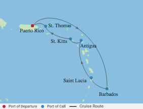 7 Night Southern Caribbean  Cruise voyage map