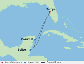 5 Night Western Caribbean Cruise voyage map