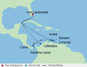 11 Ngt Panama Canal & Southern Caribbean voyage map