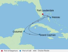 6 Night Bahamas, Grand Cayman & Mexico voyage map