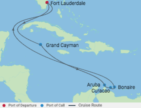 9 Night Aruba, Bonaire & Curacao Cruise voyage map