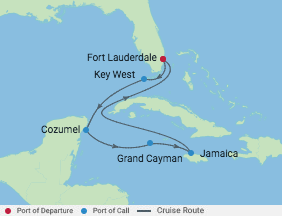 7 Night Mexico, Jamaica & Grand Cayman voyage map