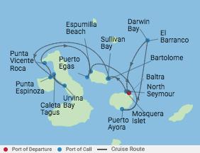 7 Night Galapagos Northern Loop Cruise voyage map