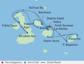 7 Night Galapagos Inner Loop Itinerary voyage map