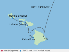 8 Night Hawaii Cruise voyage map