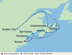 12 Night Boston, Maine & Canada Cruise voyage map