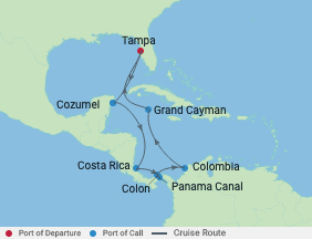 12 Night Touch Canal Holiday Cruise voyage map