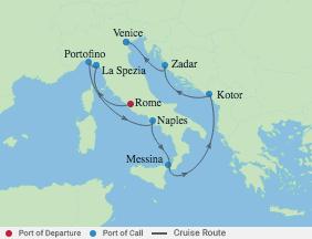 9 Night Best Of Italy, Kotor & Croatia voyage map