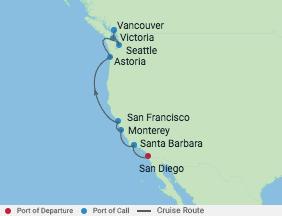 10 Night Pacific Coastal Cruise voyage map