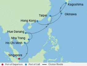 14 Night Taiwan, Vietnam, Japan Cruise voyage map